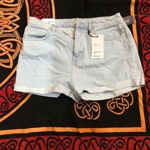 FOREVER 21 light denim high waisted shorts
